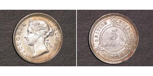 5 Cent British Honduras (1862-1981) Plata Victoria (1819 - 1901)