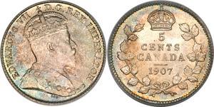 5 Cent Canadá Plata Eduardo VII (1841-1910)