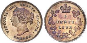 5 Cent Canadá Plata Victoria (1819 - 1901)