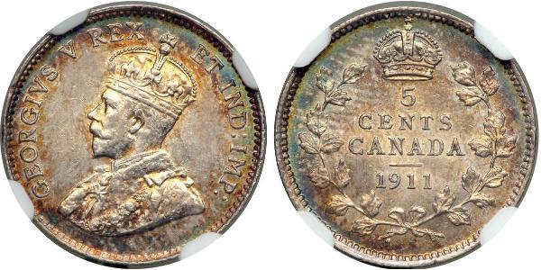 5 Cent Canadá Plata Jorge V (1865-1936)