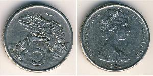 5 Cent Nuova Zelanda Rame/Nichel Elisabetta II (1926-)