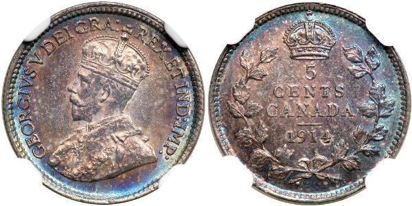 5 Cent Kanada Silber George V (1865-1936)