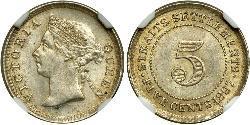 5 Cent Straits Settlements (1826 - 1946) Silber Victoria (1819 - 1901)