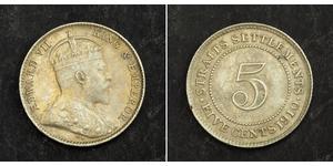 5 Cent Straits Settlements (1826 - 1946) Silber Eduard VII (1841-1910)