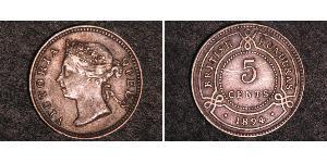 5 Cent British Honduras (1862-1981) Silver Victoria (1819 - 1901)