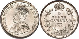 5 Cent Canada Silver George V of the United Kingdom (1865-1936)