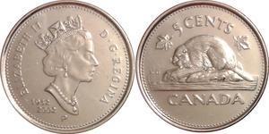 5 Cent Canada Steel Elizabeth II (1926-)