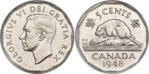 5 Cent Canada Steel/Nickel George VI (1895-1952)