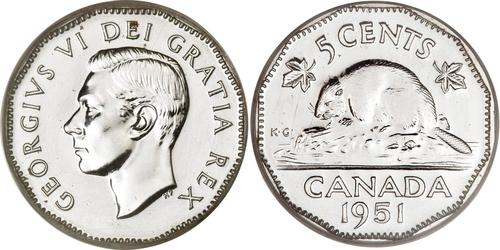 5 Cent Canada Steel/Nickel George VI (1895-1952)