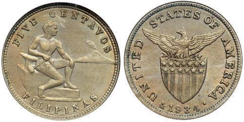5 Centavo Filippine Argento