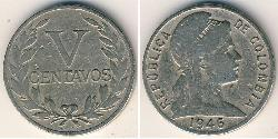 5 Centavo Republik Kolumbien  (1886 - ) Kupfer/Nickel
