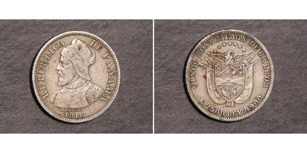 5 Centesimo Panamá Argento Vasco Núñez de Balboa (1475 – 1519)