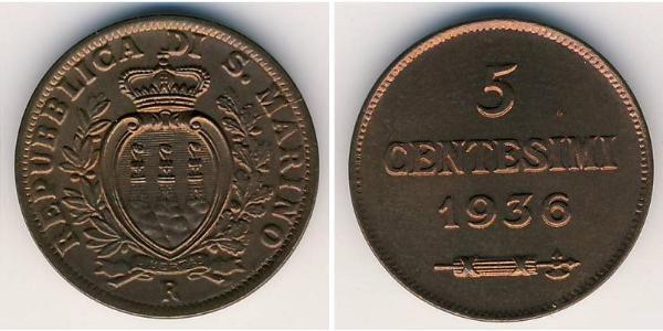5 Centesimo Saint-Marin Bronze