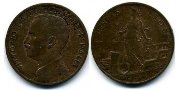 5 Centesimo Kingdom of Italy (1861-1946) Cuivre Victor-Emmanuel III d