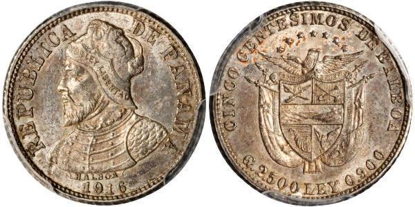 5 Centesimo Republic of Panama Silver Vasco Núñez de Balboa (1475 – 1519)