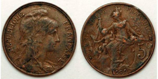 5 Centime French Third Republic (1870-1940)  Bronze
