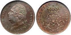 5 Centime Kingdom of France (1815-1830) Bronze Louis XVIII of France (1755-1824)