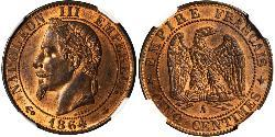 5 Centime Second French Empire (1852-1870) Bronze Napoleon III (1808-1873)