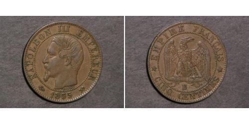 5 Centime Second French Empire (1852-1870) Bronze Napoleon III (1808-1873)