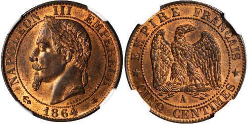 5 Centime Zweites Kaiserreich (1852-1870) Bronze Napoleon III (1808-1873)