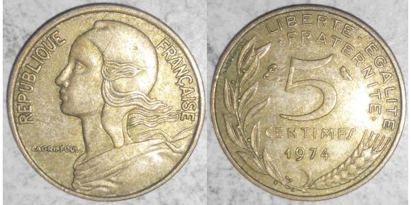 5 Centime French Fifth Republic (1958 - ) Bronze/Aluminium