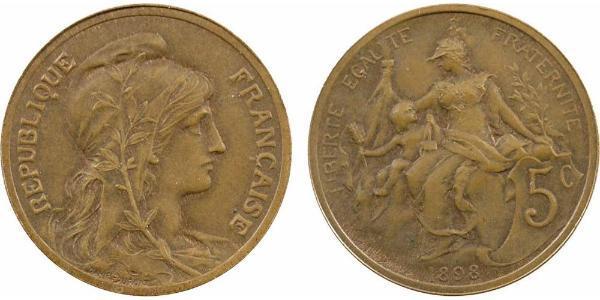5 Centime Terza Repubblica francese (1870-1940)  Bronzo