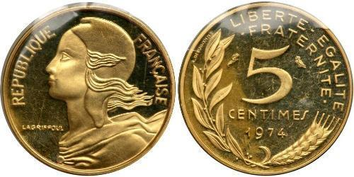 5 Centime French Fifth Republic (1958 - ) Gold