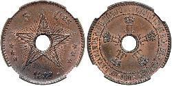 5 Centime Belgian Congo (1908 - 1960)