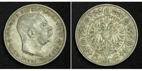 5 Corona Австро-Угорщина (1867-1918) Срібло Франц Иосиф I (1830 - 1916)