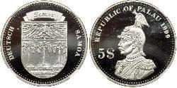 5 Dólar Palaos Palladium