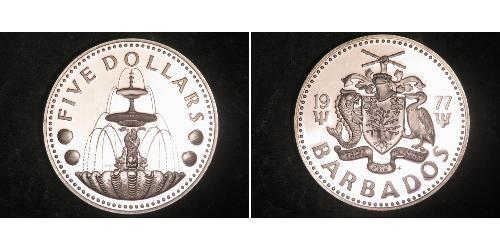5 Dólar Barbados Plata