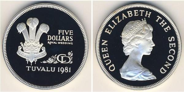5 Dólar Tuvalu Plata