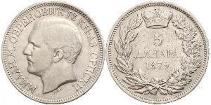 5 Dinaro Serbia Plata
