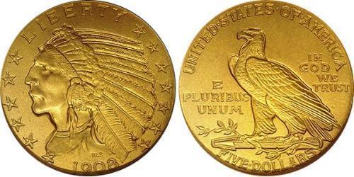 5 Dollar 美利堅合眾國 (1776 - ) 金