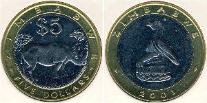 5 Dollar Zimbabwe (1980 - ) Bimetal