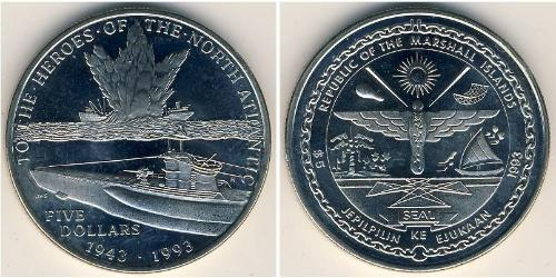 5 Dollar Marshallinseln Kupfer/Nickel