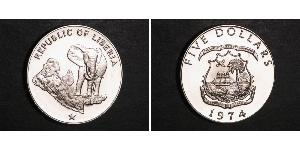 5 Dollar Liberia Silber