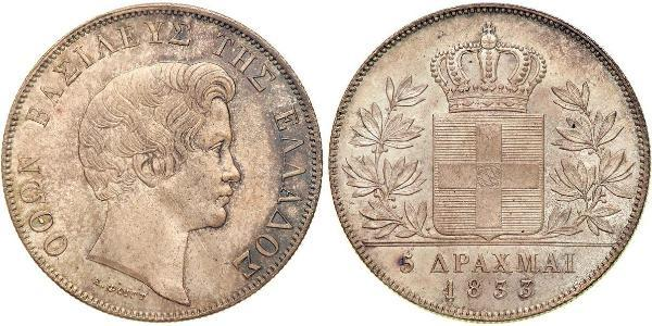 5 Drachma Reino de Grecia (1832-1924) Plata Otón I de Grecia (1815 - 1867)