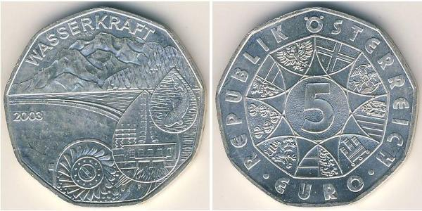 5 Euro Republic of Austria (1955 - ) Plata