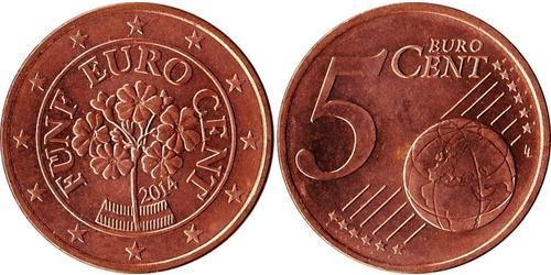5 Eurocent Republik Österreich (1955 - ) Kupfer