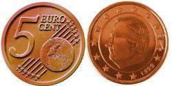 5 Eurocent Belgio Rame/Acciaio Albert II dei Belgi
