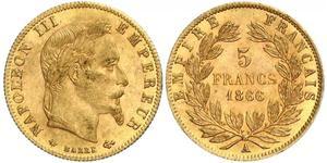5 Franc 法蘭西第二帝國 (1852 - 1870) 金 拿破仑三世