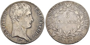 5 Franc 法兰西第一帝国 (1804 - 1814) 銀 拿破仑一世(1769 - 1821)