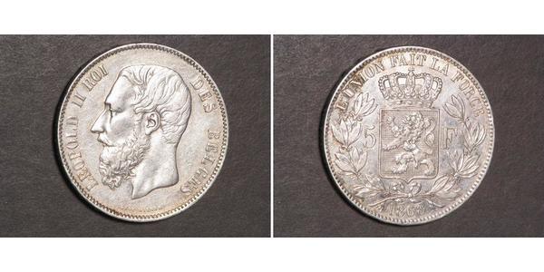 5 Franc Belgique Argent Leopold II (1835 - 1909)