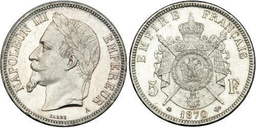5 Franc Second Empire (1852-1870) Argent Napoleon III (1808-1873)