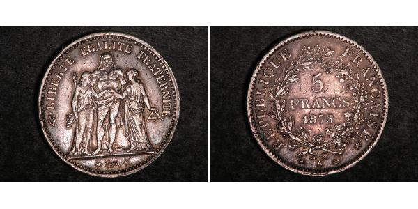 5 Franc Troisième République (1870-1940)  Argent