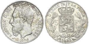 5 Franc Belgio Argento Leopold II (1835 - 1909)