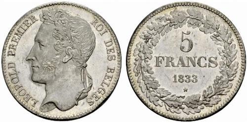5 Franc Belgio Argento Leopoldo I del Belgio (1790-1865)