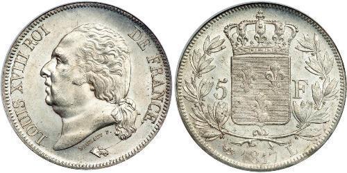 5 Franc Kingdom of France (1815-1830) Argento