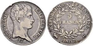 5 Franc Primo Impero francese (1804-1814) Argento Napoleone Bonaparte(1769 - 1821)